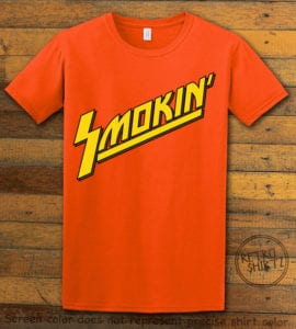 This is the main graphic design on a orange shirt for the Weed Shirt: Smokin Rockstar