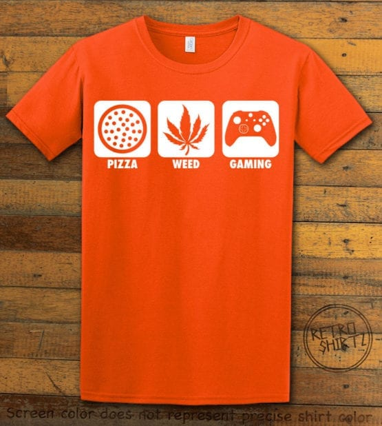 This is the main graphic design on a orange shirt for the Weed Shirt: Pizza Weed Gaming