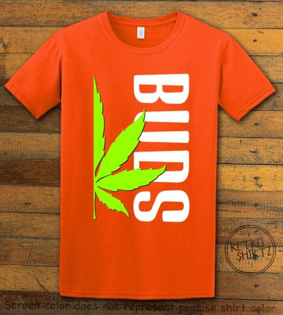 This is the main graphic design on a orange shirt for the Weed Shirt: Buds of Best Buds