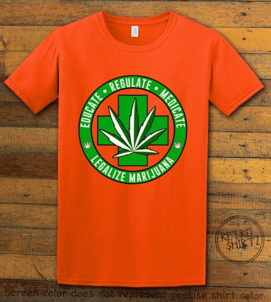 This is the main graphic design on a orange shirt for the Weed Shirt: Legalize Medical Marijuana