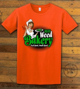 This is the main graphic design on a orange shirt for the Weed Shirt: Milf Weed Bakery