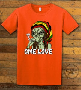 This is the main graphic design on a orange shirt for the Weed Shirt: Rasta Alien