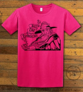 This is the main graphic design on a pink shirt for the Weed Shirt: Gandalf Smoking Pipeweed