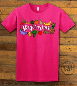 This is the main graphic design on a pink shirt for the Weed Shirt: Vegetarian