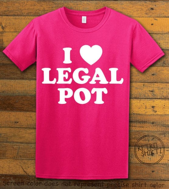This is the main graphic design on a pink shirt for the Weed Shirt: I Heart Pot