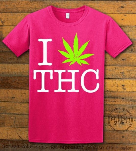 This is the main graphic design on a pink shirt for the Weed Shirt: I Heart THC