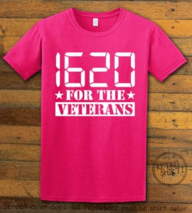 This is the main graphic design on a pink shirt for the Weed Shirt: 1620 Veterans