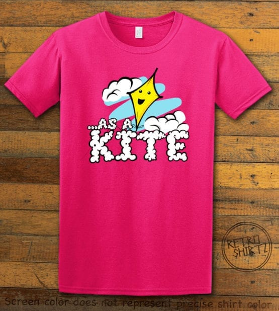 This is the main graphic design on a pink shirt for the Weed Shirt: High as a Kite