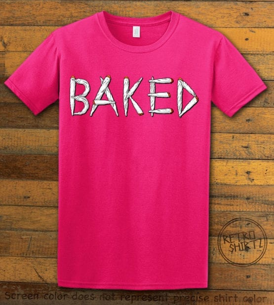 This is the main graphic design on a pink shirt for the Weed Shirt: Baked Joint Letters