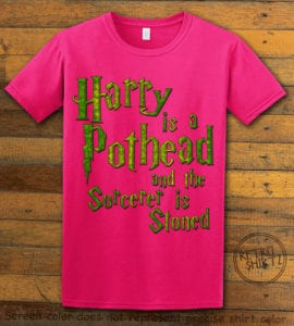 This is the main graphic design on a pink shirt for the Weed Shirt: Harry is a Pothead