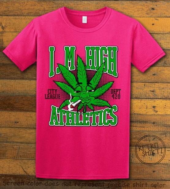 This is the main graphic design on a pink shirt for the Weed Shirt: Marijuana High School