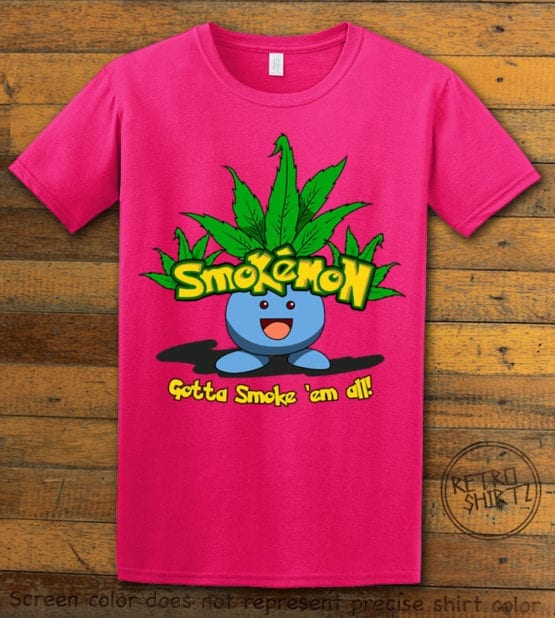 This is the main graphic design on a pink shirt for the Weed Shirt: Smokemon Oddish Pot Leaf