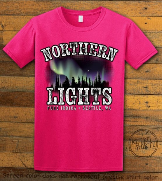 This is the main graphic design on a pink shirt for the Weed Shirt: Northern Lights Indica
