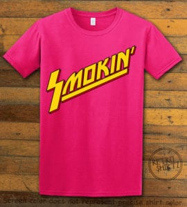 This is the main graphic design on a pink shirt for the Weed Shirt: Smokin Rockstar