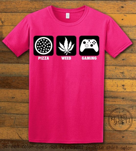 This is the main graphic design on a pink shirt for the Weed Shirt: Pizza Weed Gaming