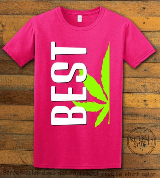This is the main graphic design on a pink shirt for the Weed Shirt: Best of Best Buds