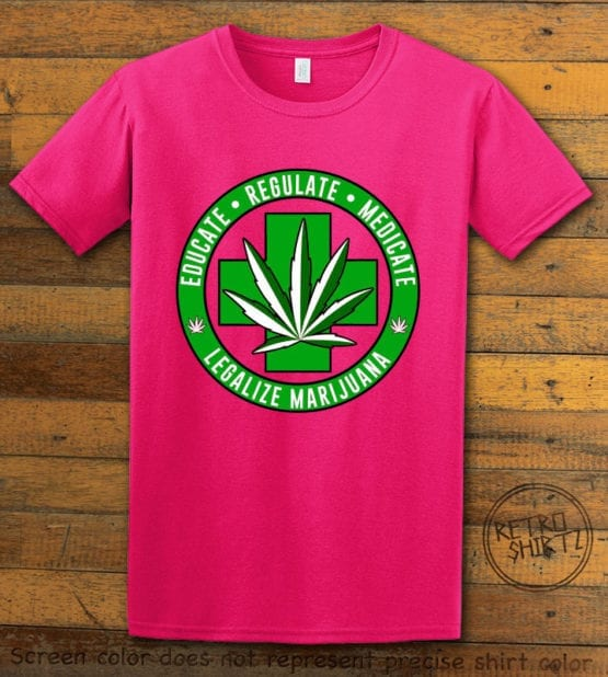 This is the main graphic design on a pink shirt for the Weed Shirt: Legalize Medical Marijuana