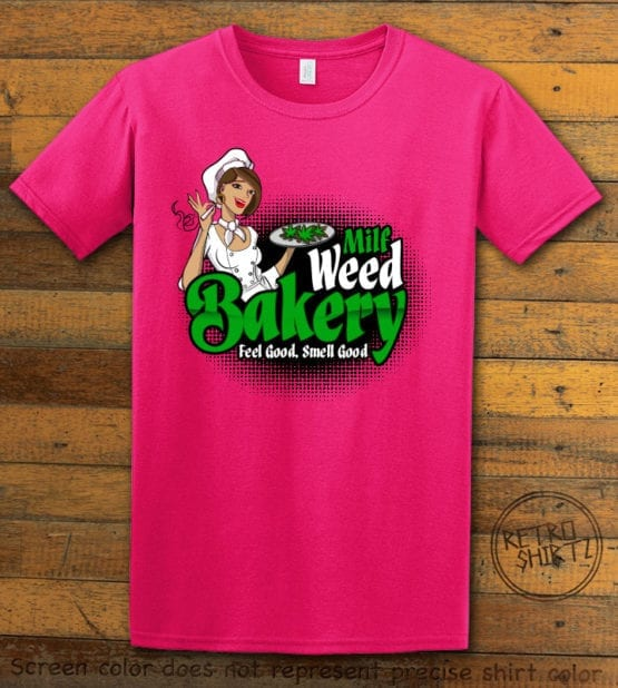 This is the main graphic design on a pink shirt for the Weed Shirt: Milf Weed Bakery