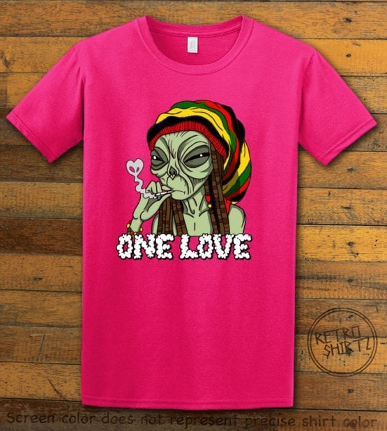 This is the main graphic design on a pink shirt for the Weed Shirt: Rasta Alien