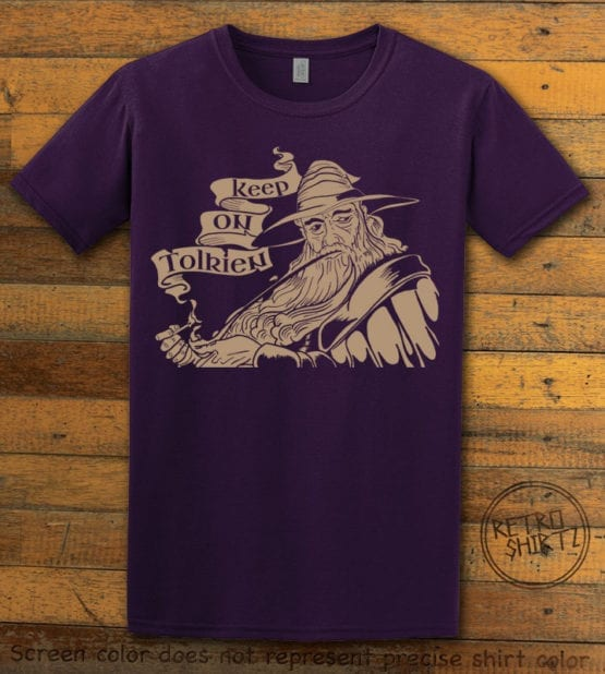 This is the main graphic design on a purple shirt for the Weed Shirt: Gandalf Smoking Pipeweed