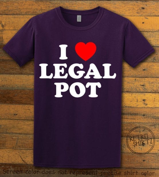 This is the main graphic design on a purple shirt for the Weed Shirt: I Heart Pot