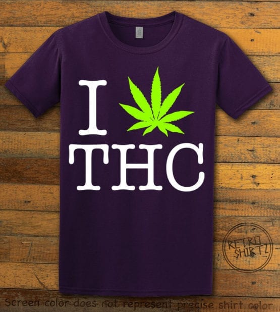 This is the main graphic design on a purple shirt for the Weed Shirt: I Heart THC