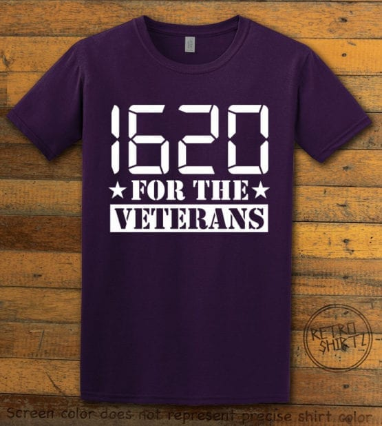 This is the main graphic design on a purple shirt for the Weed Shirt: 1620 Veterans