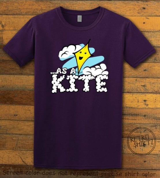 This is the main graphic design on a purple shirt for the Weed Shirt: High as a Kite