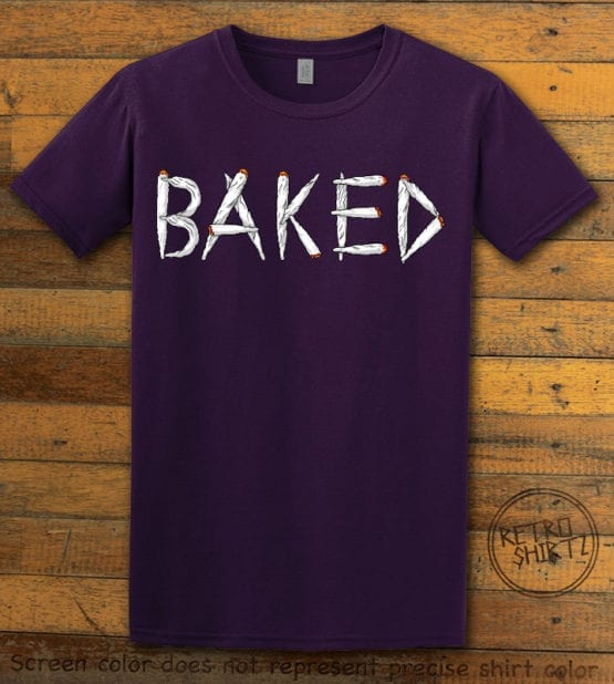 This is the main graphic design on a purple shirt for the Weed Shirt: Baked Joint Letters