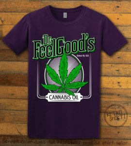 This is the main graphic design on a purple shirt for the Weed Shirt: Dr. Feel Good's Cannabis Oil