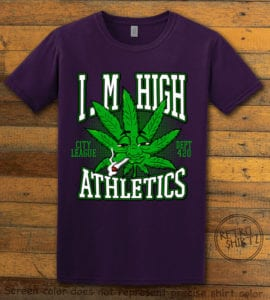 This is the main graphic design on a purple shirt for the Weed Shirt: Marijuana High School