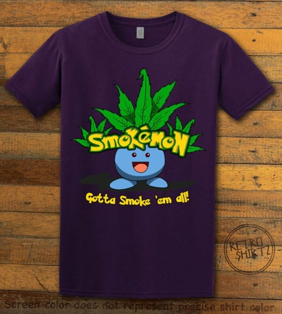This is the main graphic design on a purple shirt for the Weed Shirt: Smokemon Oddish Pot Leaf