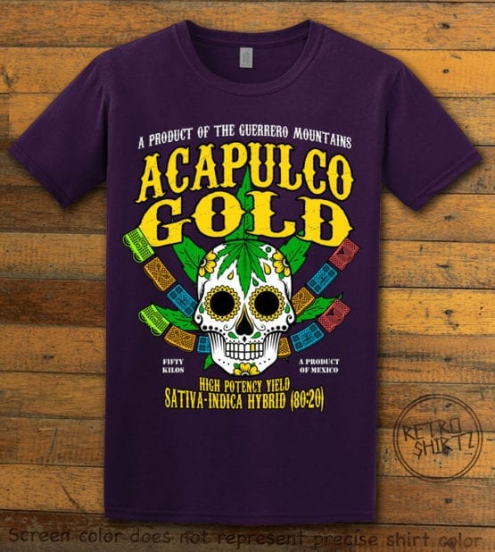This is the main graphic design on a purple shirt for the Weed Shirt: Acapulco Gold Sativa Indica Hybrid