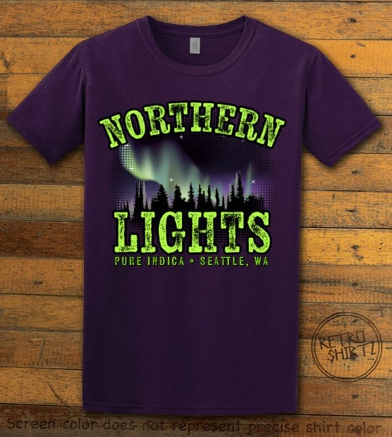 This is the main graphic design on a purple shirt for the Weed Shirt: Northern Lights Indica