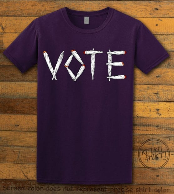 This is the main graphic design on a purple shirt for the Weed Shirt: Vote Legalize Marijuana