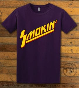 This is the main graphic design on a purple shirt for the Weed Shirt: Smokin Rockstar