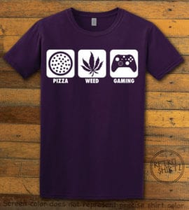 This is the main graphic design on a purple shirt for the Weed Shirt: Pizza Weed Gaming