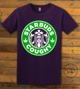 This is the main graphic design on a purple shirt for the Weed Shirt: Starbuds Starbucks Marijuana
