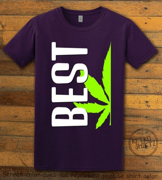 This is the main graphic design on a purple shirt for the Weed Shirt: Best of Best Buds