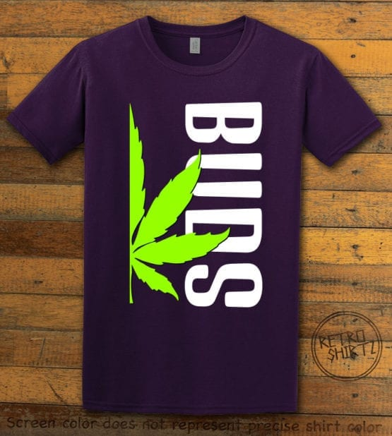 This is the main graphic design on a purple shirt for the Weed Shirt: Buds of Best Buds