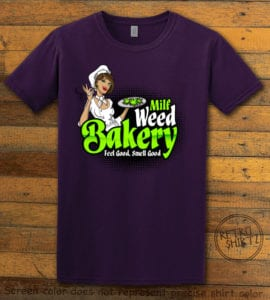 This is the main graphic design on a purple shirt for the Weed Shirt: Milf Weed Bakery
