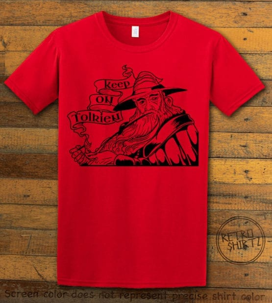 This is the main graphic design on a red shirt for the Weed Shirt: Gandalf Smoking Pipeweed
