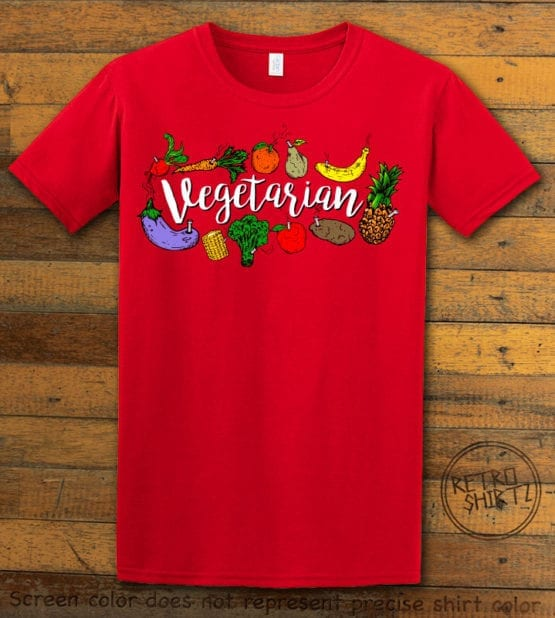 This is the main graphic design on a red shirt for the Weed Shirt: Vegetarian