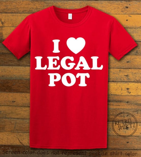 This is the main graphic design on a red shirt for the Weed Shirt: I Heart Pot