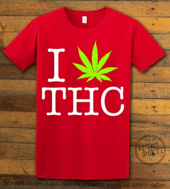 This is the main graphic design on a red shirt for the Weed Shirt: I Heart THC