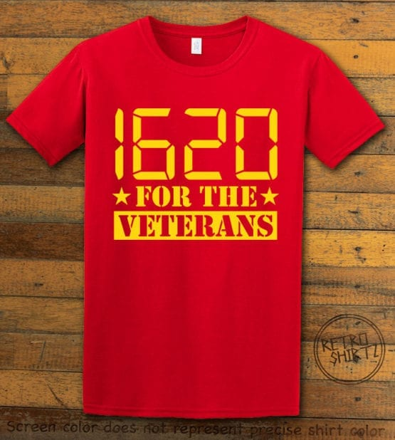 This is the main graphic design on a red shirt for the Weed Shirt: 1620 Veterans