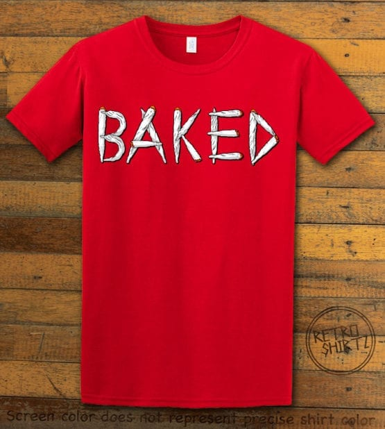 This is the main graphic design on a red shirt for the Weed Shirt: Baked Joint Letters