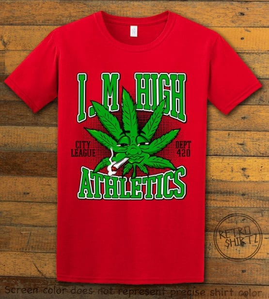 This is the main graphic design on a red shirt for the Weed Shirt: Marijuana High School