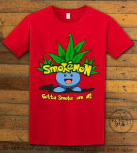 This is the main graphic design on a red shirt for the Weed Shirt: Smokemon Oddish Pot Leaf