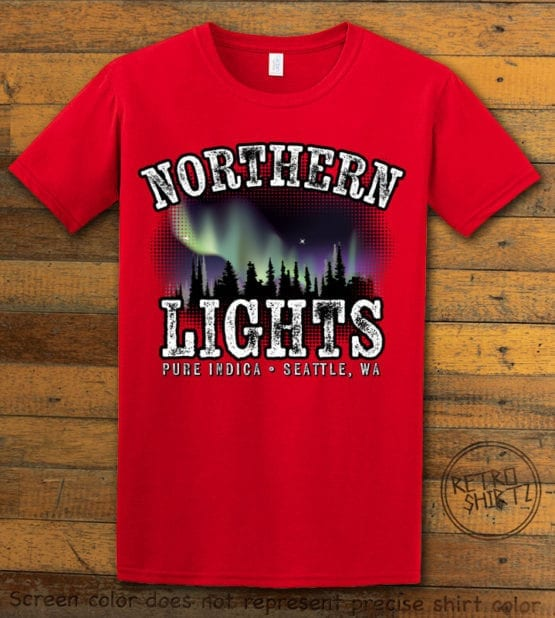 This is the main graphic design on a red shirt for the Weed Shirt: Northern Lights Indica